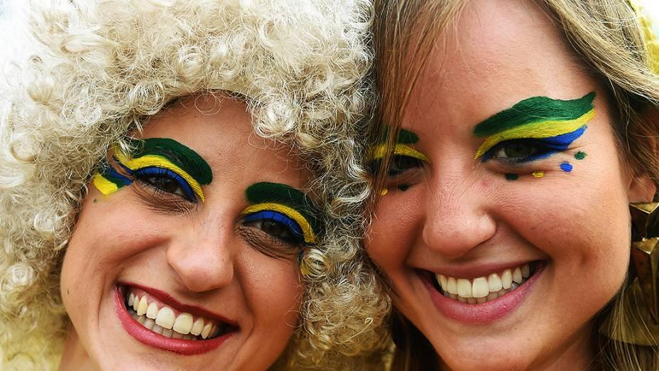 Torcedoras do Brasil chegam no Mineirão para o jogo contra a Alemanha, em Belo Horizonte