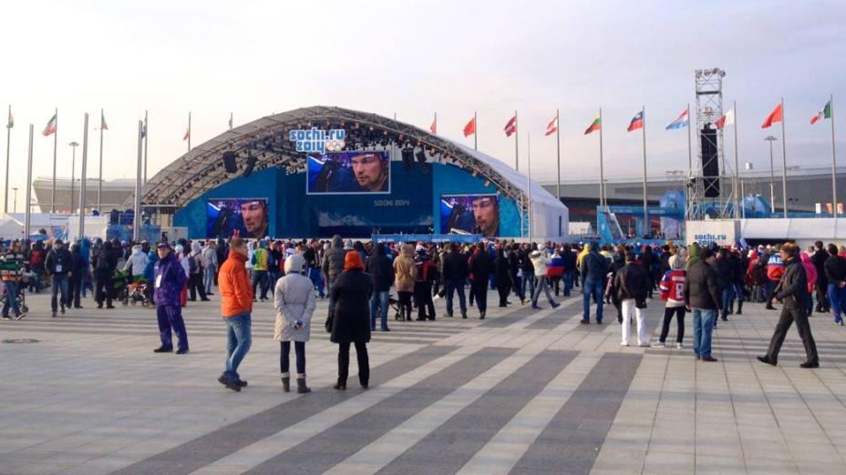 No Parque Olímpico, a decepção dos russos com a derrota no hóquei no gelo