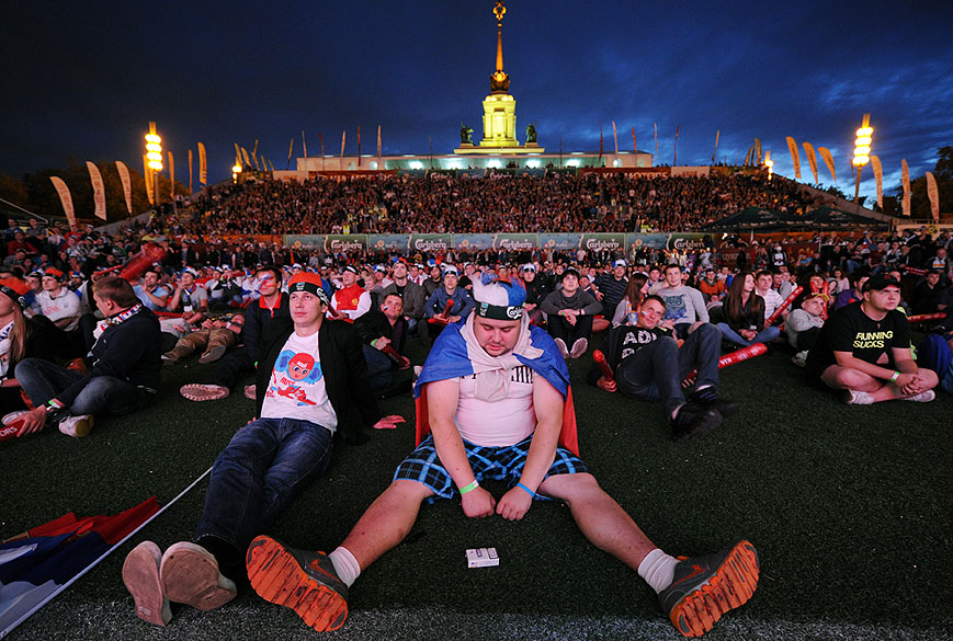 Torcedores após eliminação russa na Eurocopa 2012