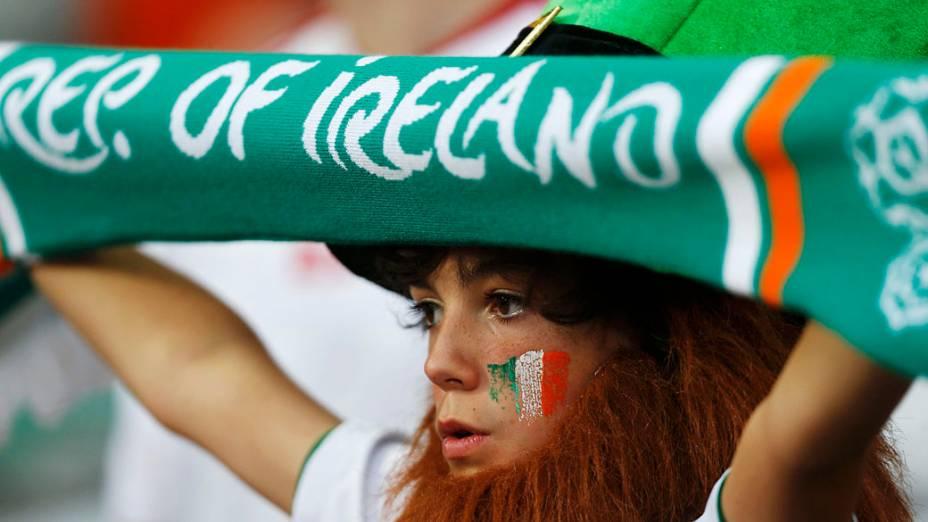 Torcedor da República da Irlanda antes da partida contra a Itália válida pela 3ª rodada da Eurocopa 2012