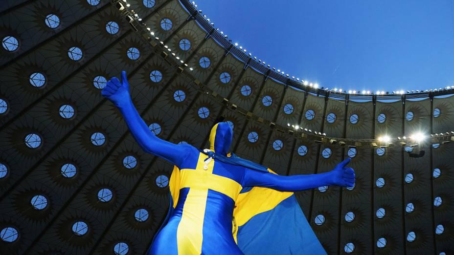 Torcedor sueco durante a partida contra a França, válida pela 3ª rodada da Eurocopa 2012