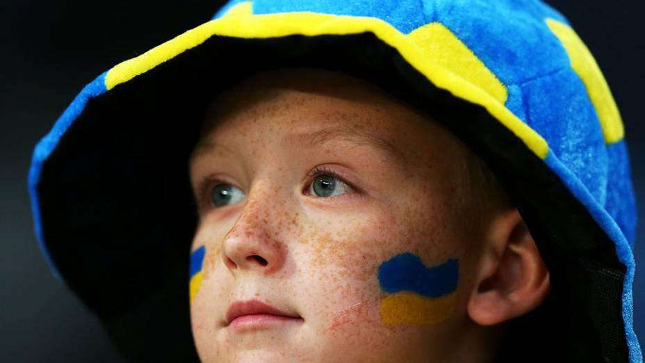 Torcedor ucraniano antes da partida contra a Inglaterra, válida pela 3ª rodada da Eurocopa 2012