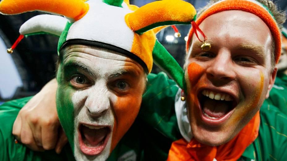 Torcedores da República da Irlanda durante partida contra a Croácia, em Poznan, Polônia