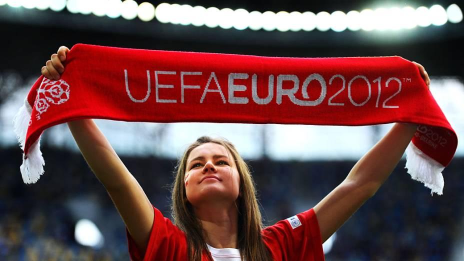 Torcedora dinamarquesa durante partida contra Portugal válida pela segunda rodada da Eurocopa 2012