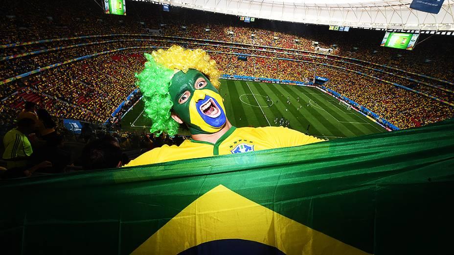 Vista geral do Mané Garrincha durante o jogo entre Brasil e Camarões, em Brasília