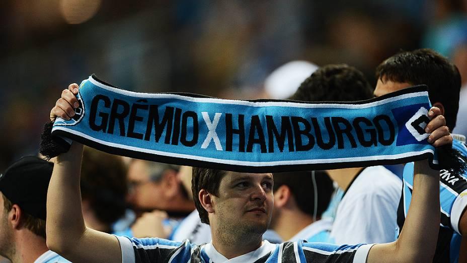 Torcida do Grêmio durante o jogo contra o Hamburgo na inauguração da Arena em Porto Alegre