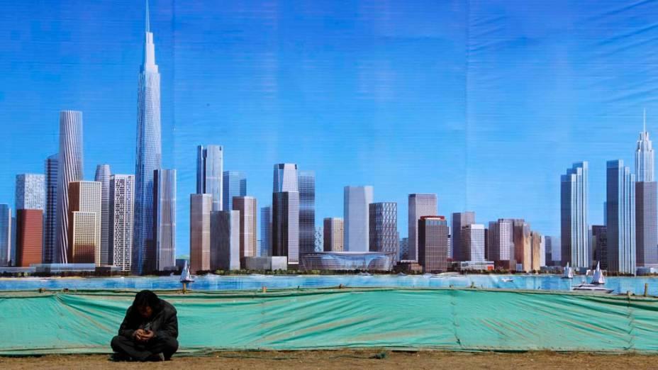 Outdoor mostra o novo distrito financeiro de Binhai na cidade chinesa de Tianjin<br>