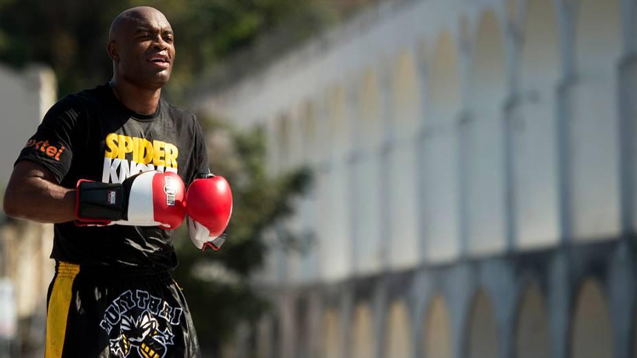 Anderson Silva, durante treino livre do UFC, no Rio de Janeiro