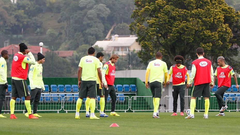 A seleção brasileira, no último treino na Granja Comary, em Teresópolis (RJ)