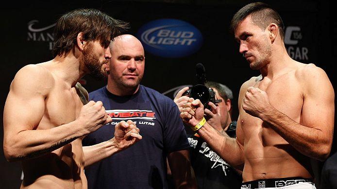 Jon Fitch e Demian Maia na pesagem do UFC 156, em Las Vegas