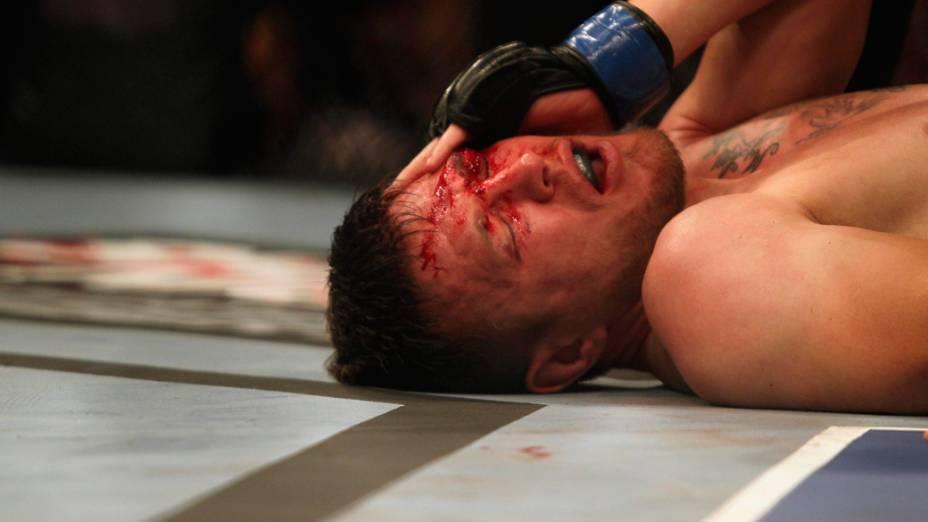 Dan Miller, dos Estados Unidos, durante a luta contra o brasileiro Rousimar Palhares, no UFC Rio de Janeiro