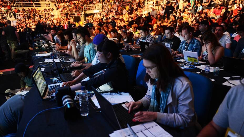 Jornalistas durante o UFC Rio III, realizada na HSBC Arena, Barra da Tijuca