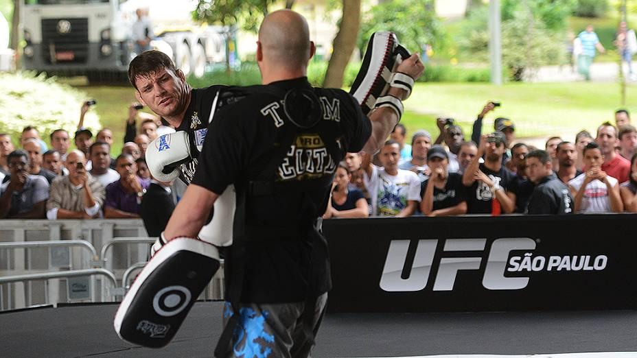 Michael Bisping durante treino do UFC, em São Paulo