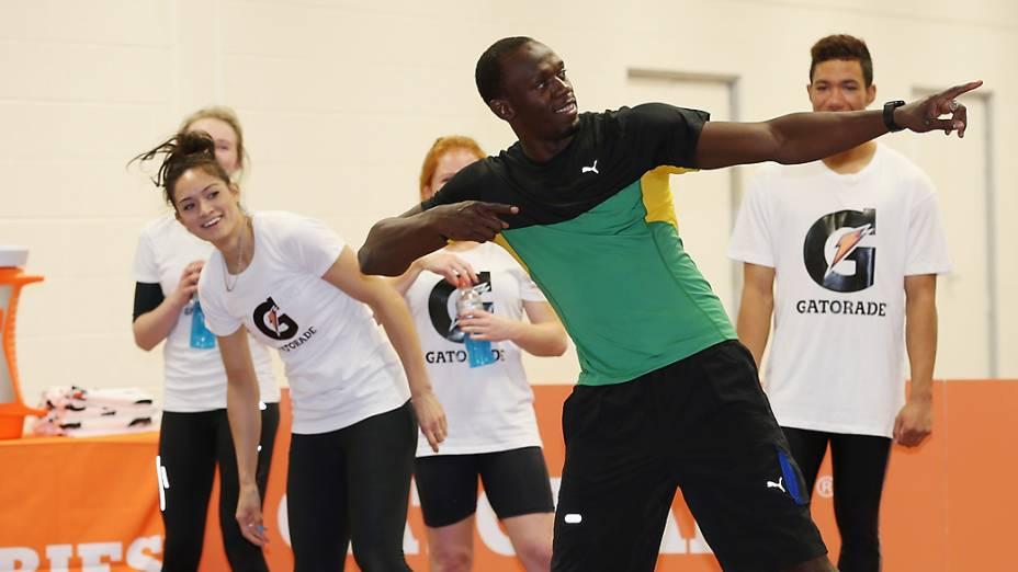 Usain Bolt na Nova Zelândia: meta é tricampeonato olímpico no Rio