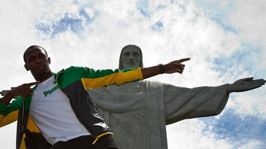 Usain Bolt visitou o Cristo Redentor