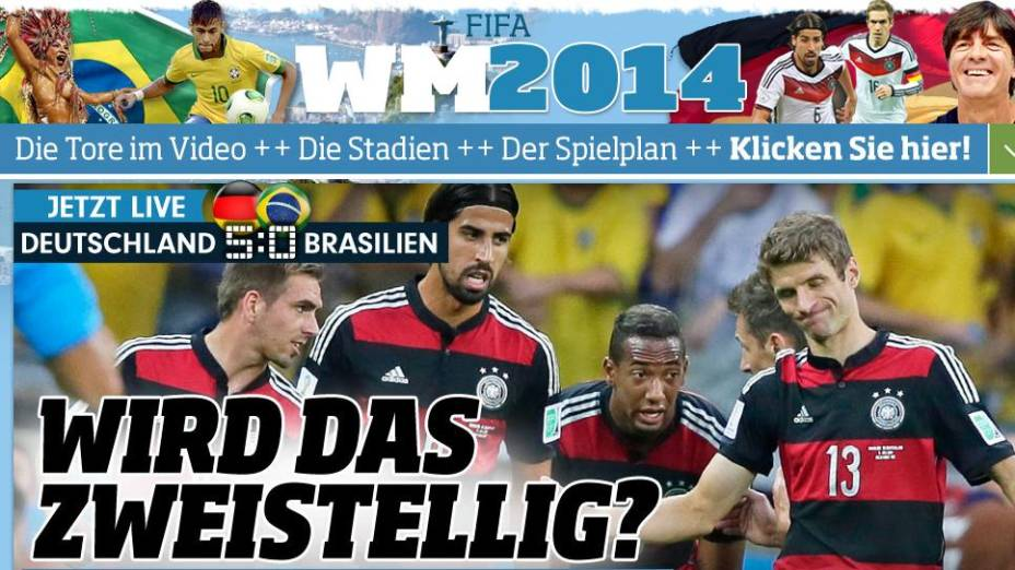"""""""Vai ser de dois dígitos?"""", perguntou o jornal alemão <em>Bild</em> no intervalo"""