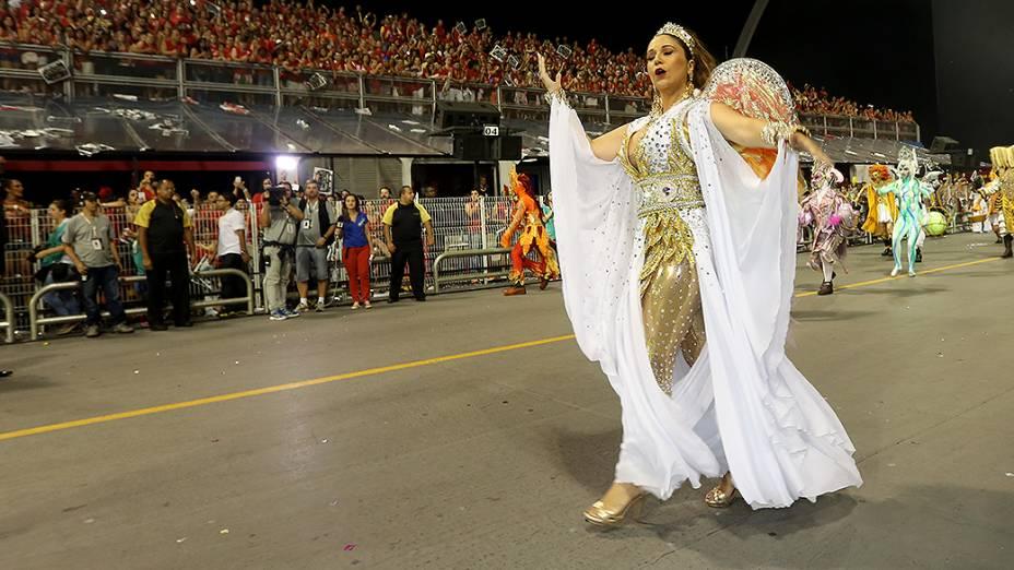 Maria Rita durante o desfile da Vai vai no segundo dia de desfile do Grupo Especial de São Paulo