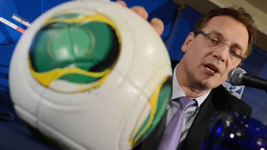 Jérôme Valcke, da Fifa, em entrevista coletiva sobre o Mundial de Clubes, em Tóquio