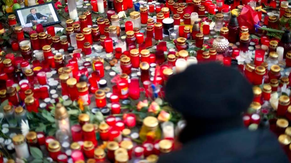 Tributos ao ex-presidente tcheco, Vaclav Havel, falecido no início da semana, Praga, República Tcheca