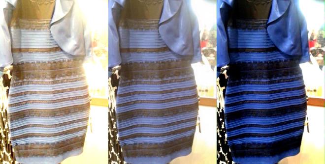 Cor de um vestido dividiu opiniões: alguns veem branco e dourado, outros azul e preto