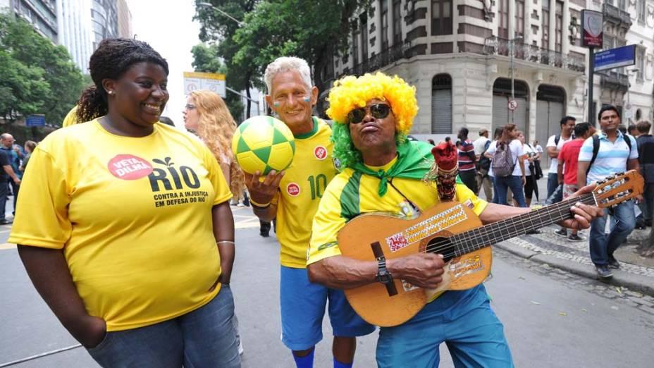 Movimentação antes do protesto Veta Dilma, no Rio de Janeiro