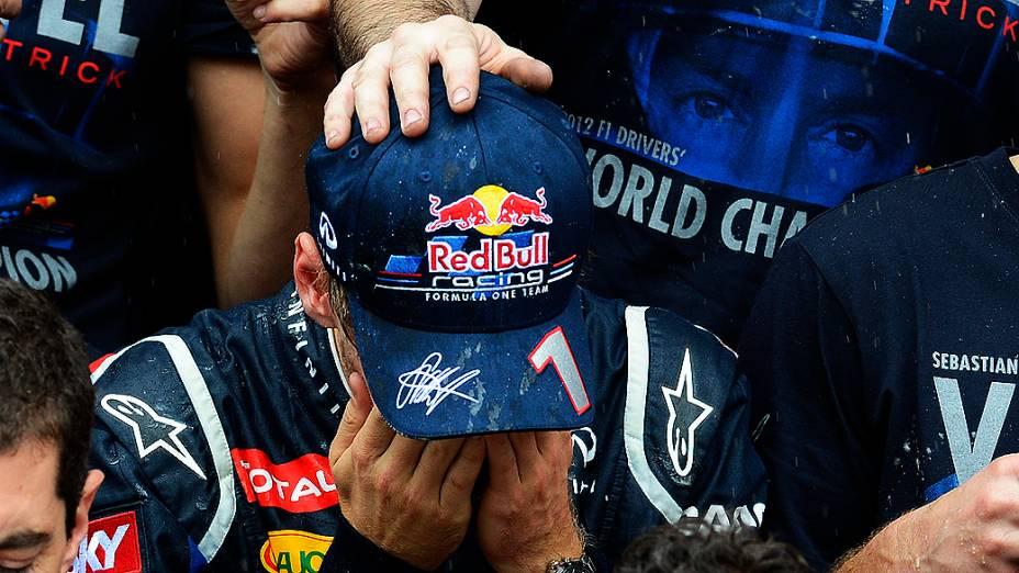 Vettel após a vitória no GP do Brasil 2012, no Autódromo de Interlagos