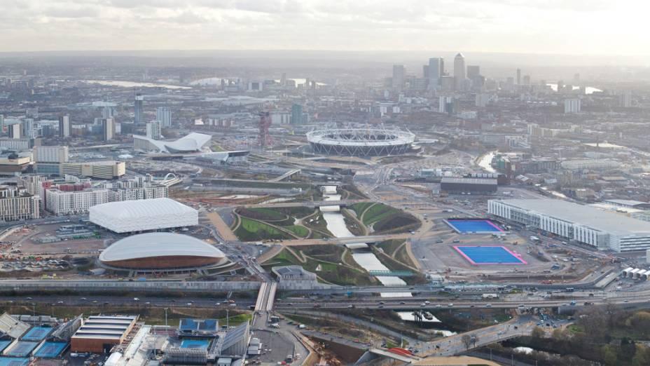 Vista aérea do Parque Olímpico que está em construção para as Olimpíadas de Londres em 2012