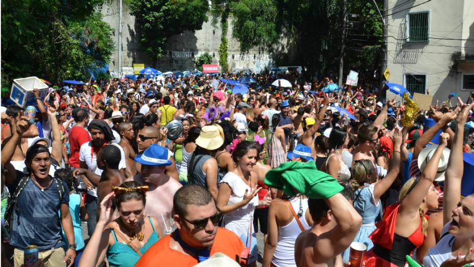 Foliões lotam o bairro de Laranjeiras, no bloco Volta Alice