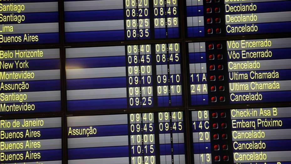 Em São Paulo, voos cancelados no Aeroporto Internacional de Guarulhos, devido as cinzas do vulcão chileno Puyehue, que vem afetando o espaco aéreo da Argentina, Peru, Uruguai e Chile. Empresas aéreas suspenderam as partidas e chegadas em aeroportos do Rio Grande do Sul e de Santa Catarina