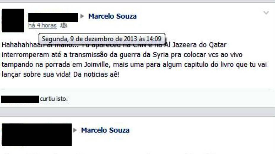 Mensagem deixada na página de Marcelo Souza, elogiando a atuação na briga em Joinville