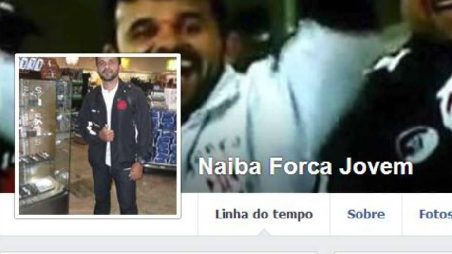 A página de Naíba no Facebook: torcedor da Força Jovem do Vasco usava uma bermuda azul e foi filmado agredindo torcedores do Atlético-PR