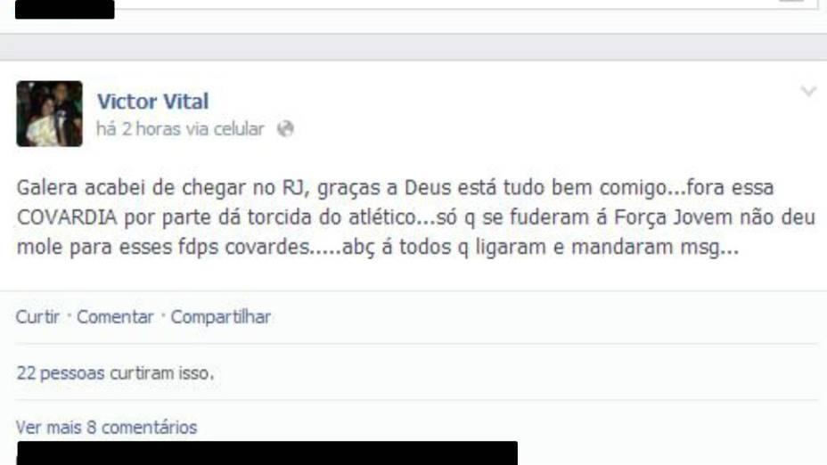 Mensagem escrita no Facebook por Victor Vital: comemoração da atuação dos vascaínos na pancadaria