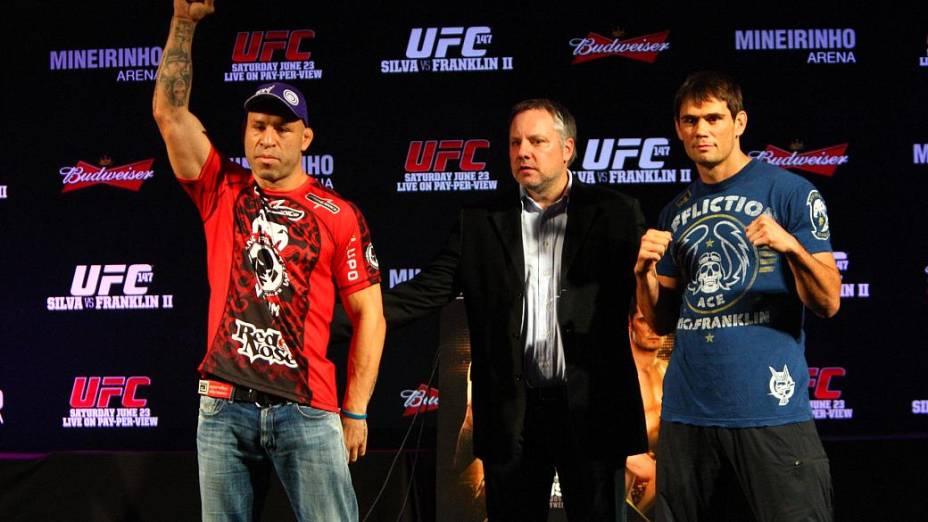 Wanderlei Silva (à esq.) e Rich Franklin (à dir) na coletiva do UFC 147
