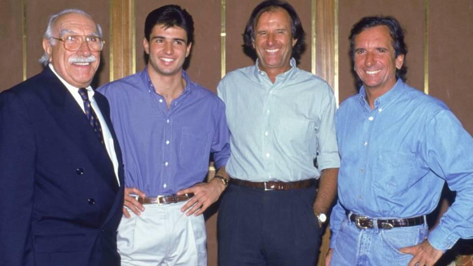 Wilson Fittipaldi, o Barão, com o neto Christian e os filhos Emerson e Wilsinho