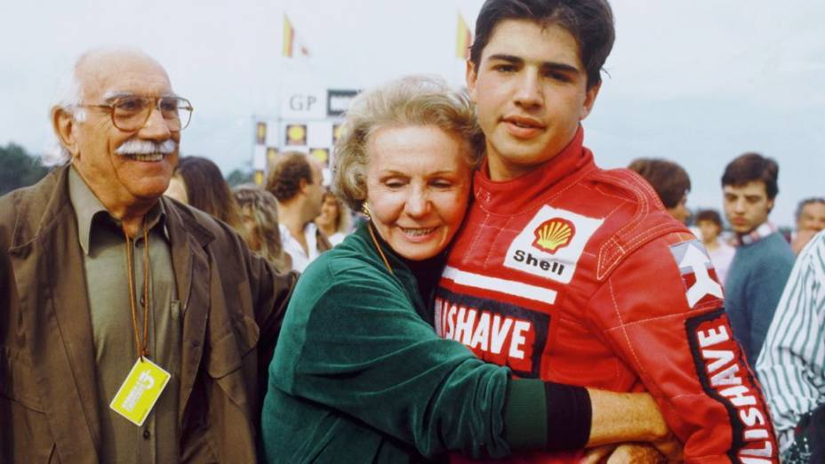 Wilson Fittipaldi e a mulher, Juze, com o neto Christian Fittipaldi, em 1989