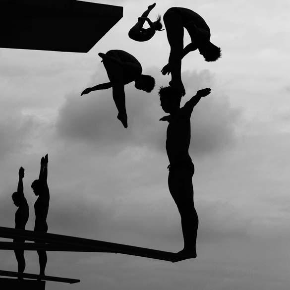 """Segundo colocado na categoria """"Sports Stories"""", de Adam Pretty (Austrália), mostra mergulhadores treinando em Xangai, na China"""