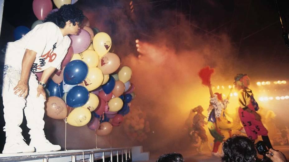 Marlene Mattos nos bastidores do show da Xuxa, 1989