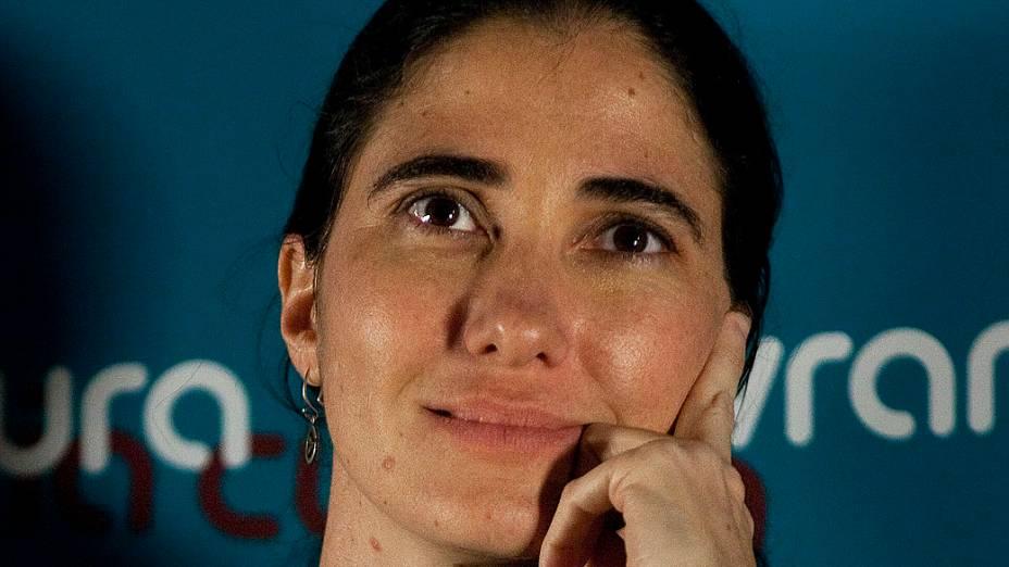 Manifestantes interromperam a blogueira cubana Yoani Sánchez durante evento nesta quinta-feira (21) na Livraria Cultura da Avenida Paulista, na região central de São Paulo