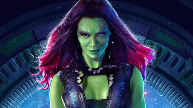 Zoe Saldana como Gamora, em Guardiões da Galáxia