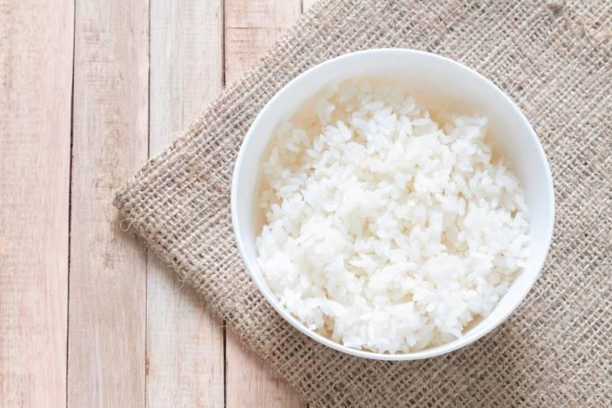 Porção pequena de arroz