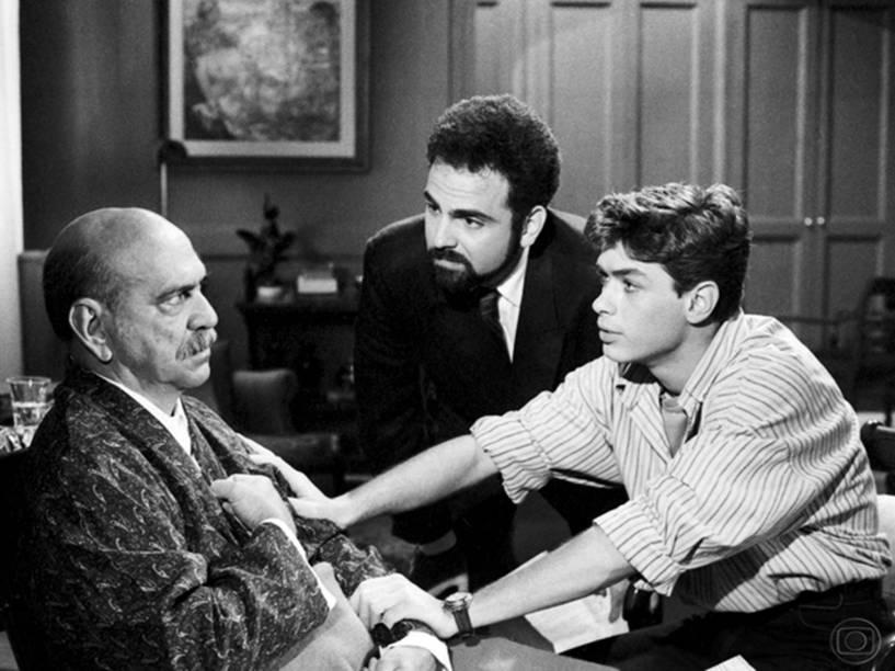 Guilherme Karam com Lima Duarte e Fábio Assunção em Meu Bem, Meu Mal (1990)