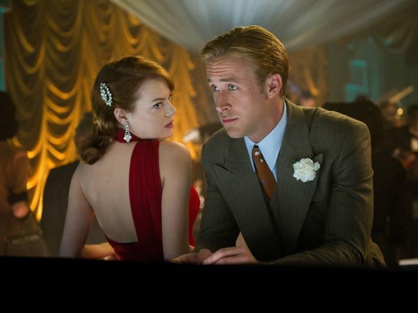 "Emma Stone e Ryan Gosling em cena do filme ""La La Land"""