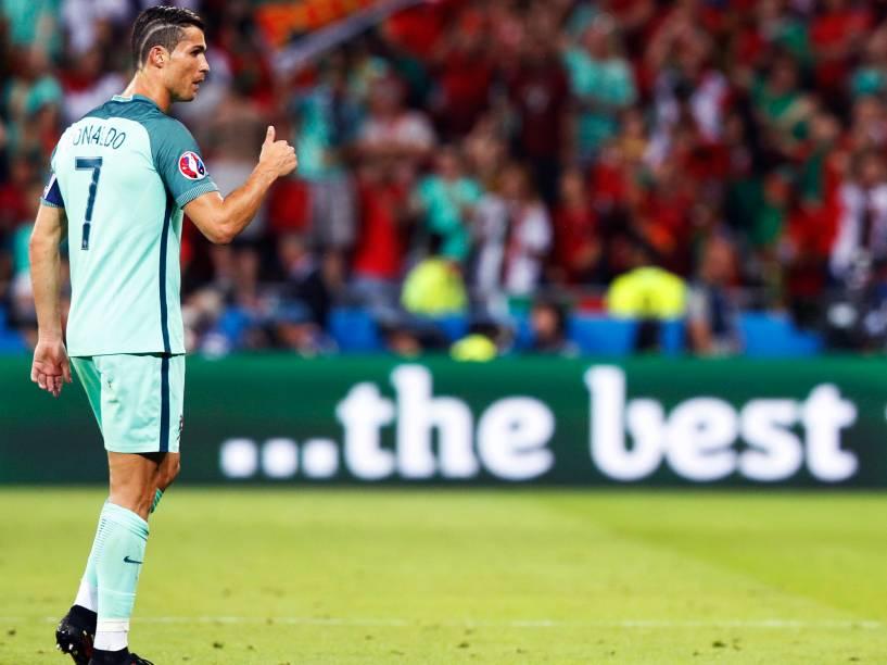 O atacante Cristiano Ronaldo, durante partida entre Portugal e País de Gales, válida pelas semifinais da Eurocopa 2016, realizada no Stade de Lyon, na França - 06/07/2016
