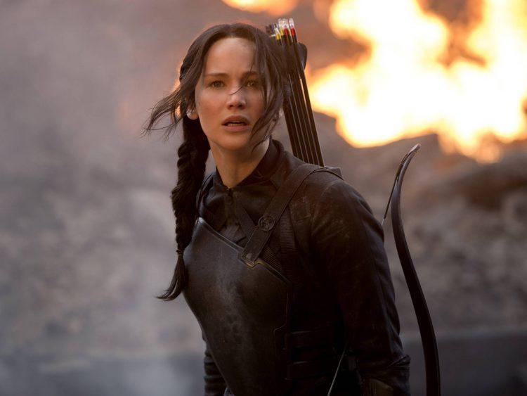 Protagonista, personagem Katniss, em cena do filme 'Jogos Vorazes: A Esperança - Parte I'