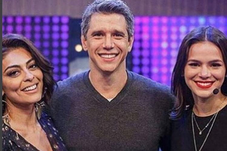 Na estreia do Tamanho Família, Marcio Garcia recebeu Bruna Marquezine e Juliana Paes, com quem atuou na novela Caminho das Índias