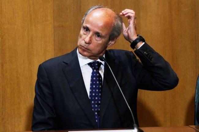 Otávio Marques de Azevedo durante depoimento no auditório da Justiça Federal, em Curitiba (PR), na manhã desta segunda-feira (31)