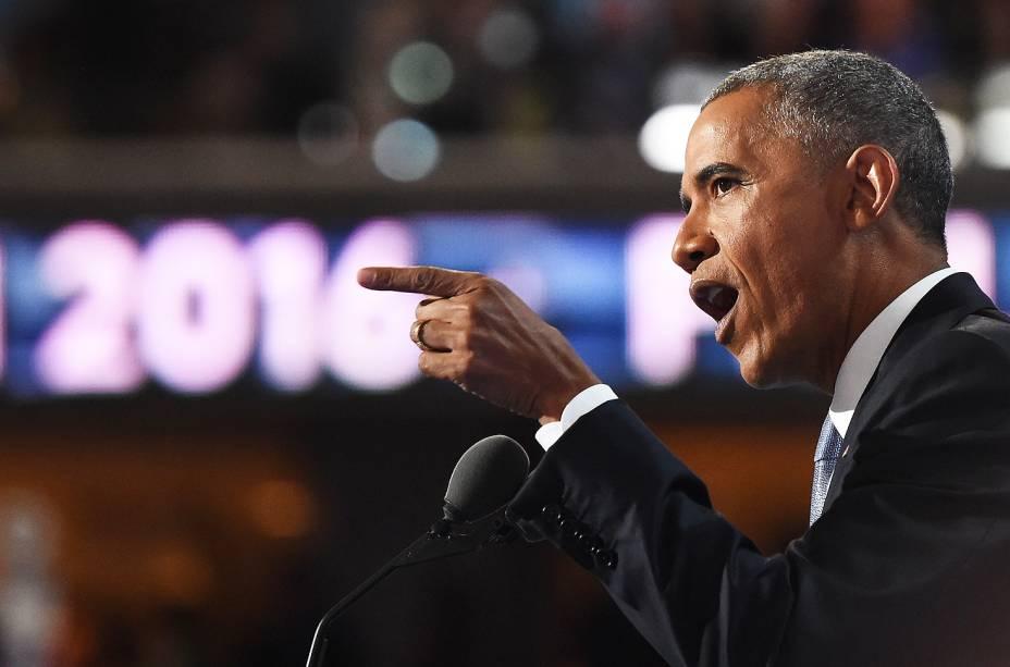 Barack Obama durante a Convenção Democrata, na Filadélfia