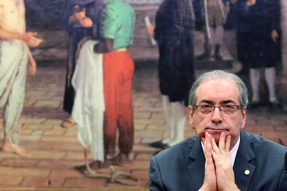 Reação do ex-deputado Eduardo Cunha durante sessão da Comissão de Constituição e Justiça (CCJ), em Brasília