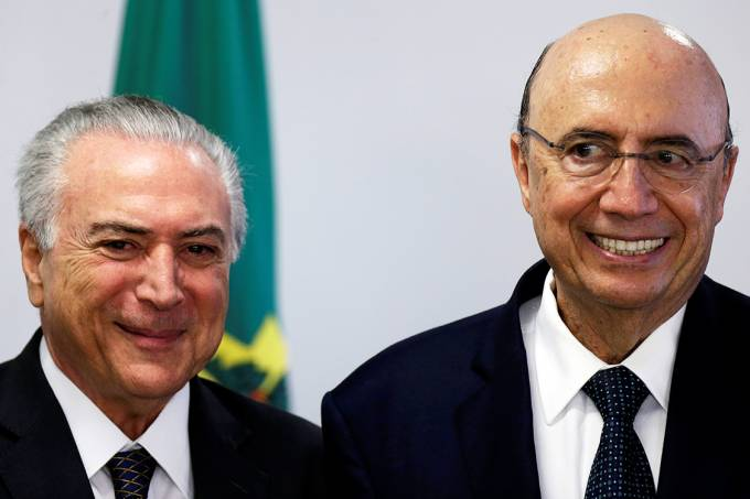 O presidente em exercício Michel Temer, e o Ministro da Fazenda, Henrique Meirelles