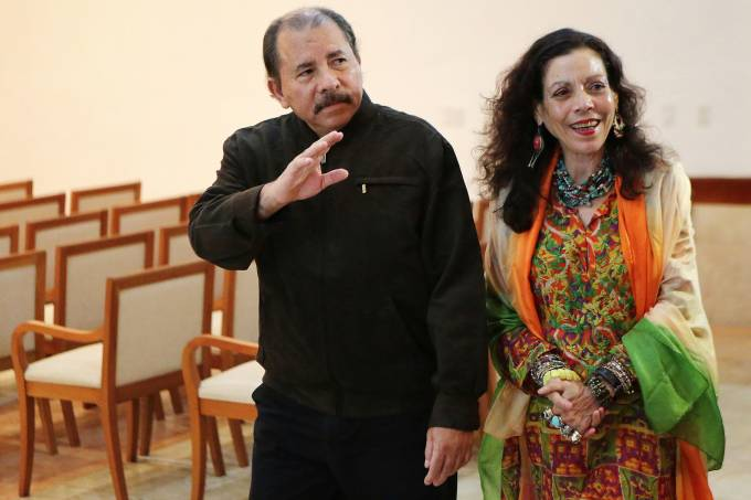 Presidente da Nicarágua, Daniel Ortega e sua esposa, Rosário Murillo